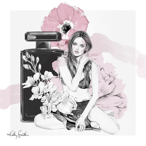 Black and white illustration of perfume for women