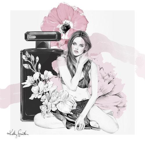 Ilustração a preto e branco de perfume para mulheres
