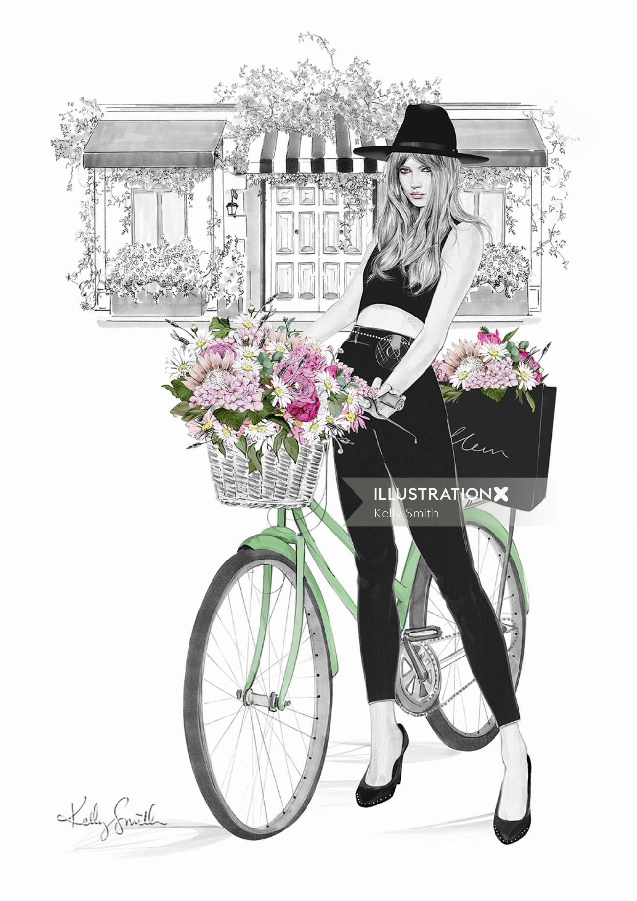woman with flowers on bicycle