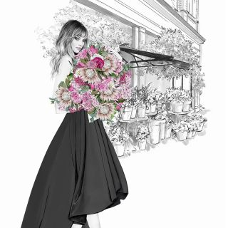 Artwork of girl with bouquet