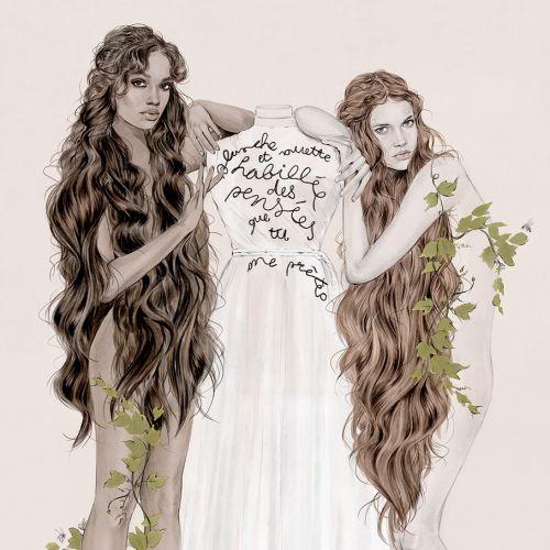 Fashion illustration of Dior Nymphs
