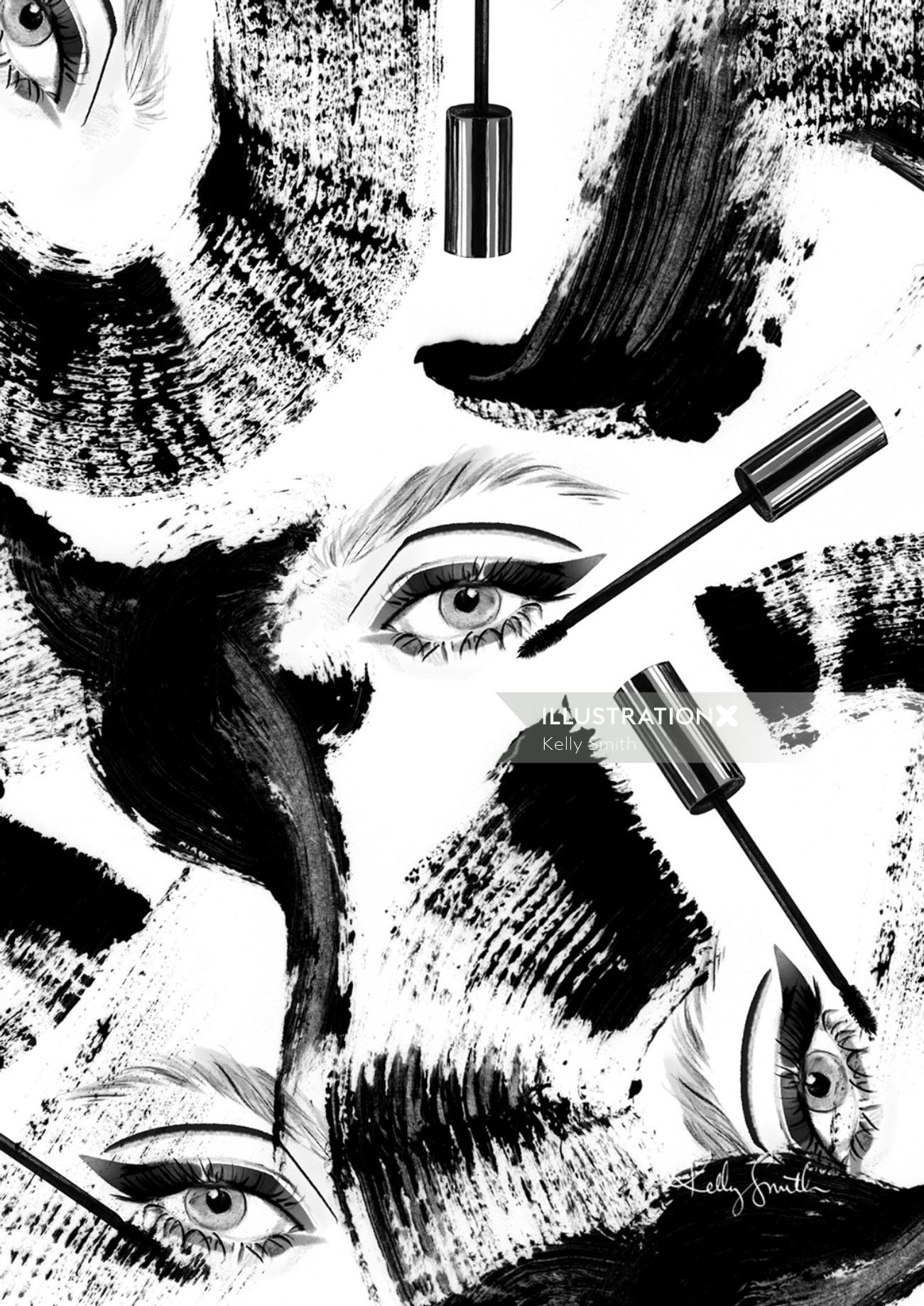 Fashion illustration of mascara swirls