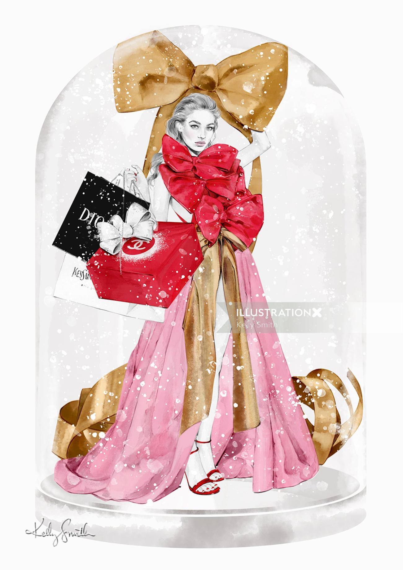 Fashion illustration of Valentino couture for Christmas 2020 Illustration