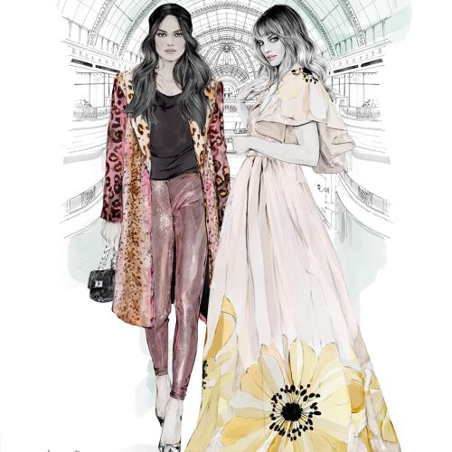 Illustration of Dubai's Mall of the Emirates for Harper's Bazaar Arabia