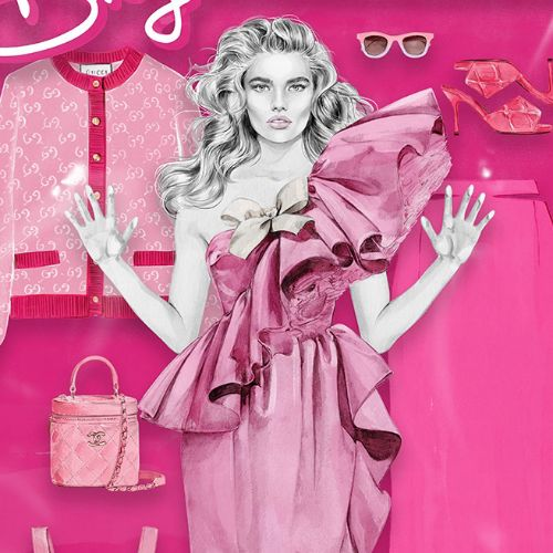 Barbie doll box fashion illustration