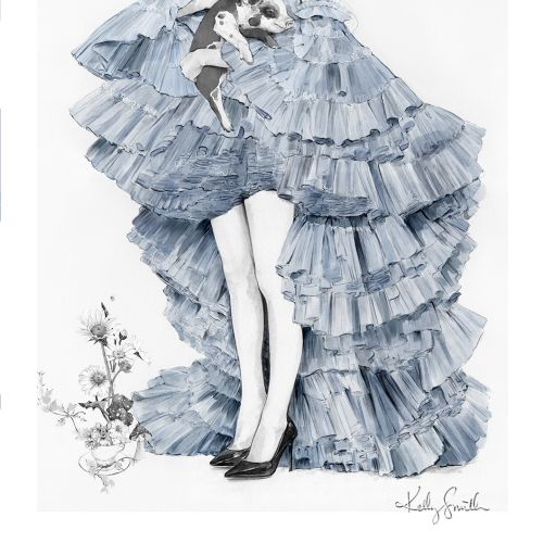 Fashion illustration of Alice wears Jean Paul Gaultier gown