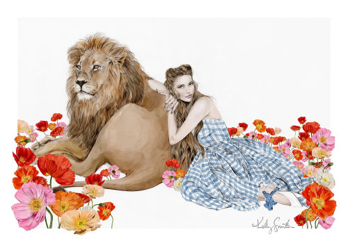 Fashion illustration of the field of poppies for The Wonderful Wizard of Oz