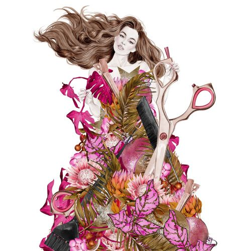 Fashion woman with floral dress