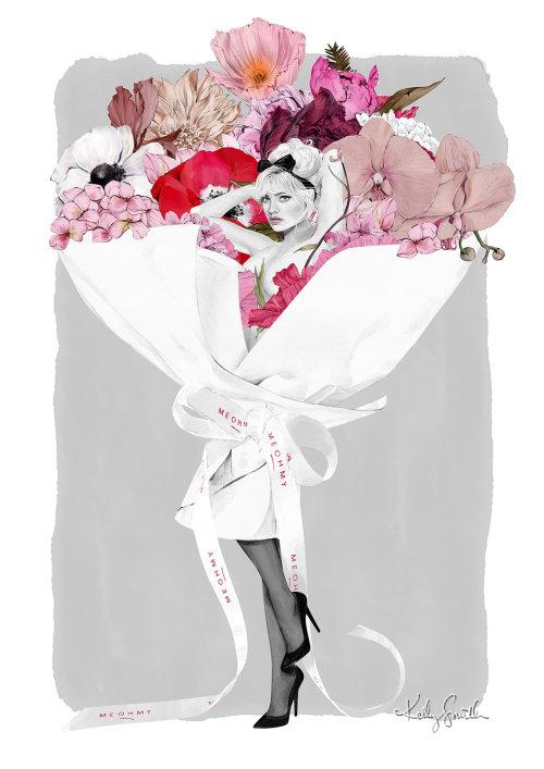 Beauty girl in flower boque