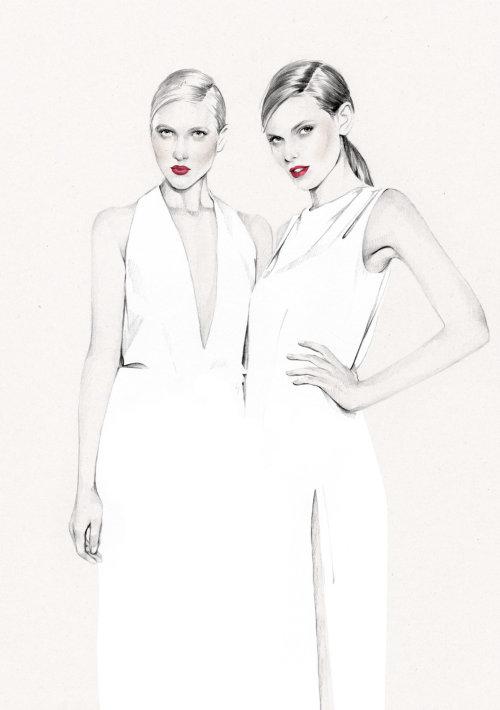 Ilustração de moda feminina por Kelly Smith
