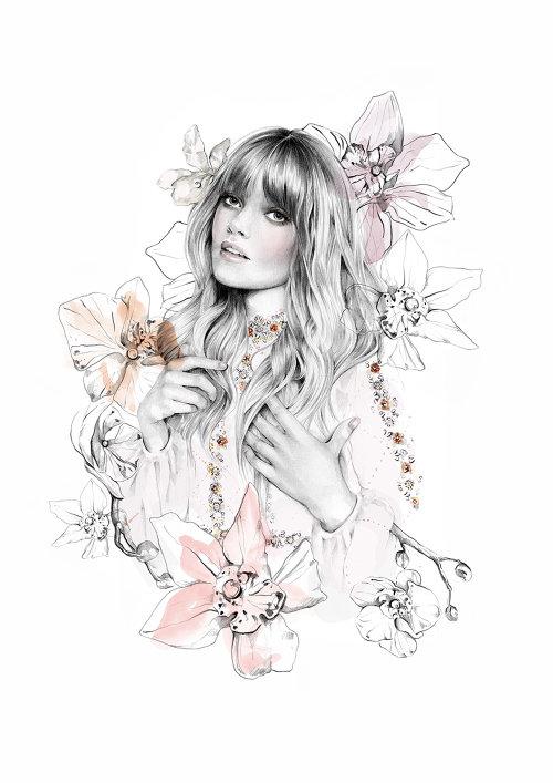 Ilustração de moda Jenny Packham por Kelly Smith