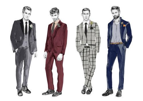 Ilustrações de estilo do noivo para a White Magazine por Kelly Smith