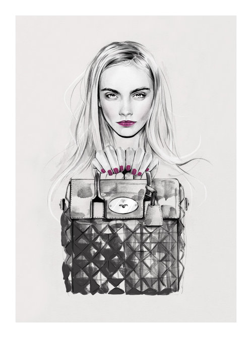 Cara x Mulberry illustration by Kelly Smith