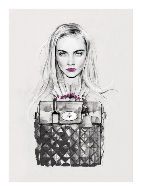 Ilustração de Cara x Mulberry por Kelly Smith