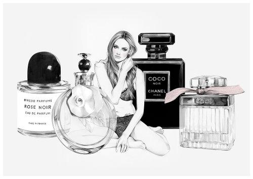 Ilustração de perfume feminino por Kelly Smith