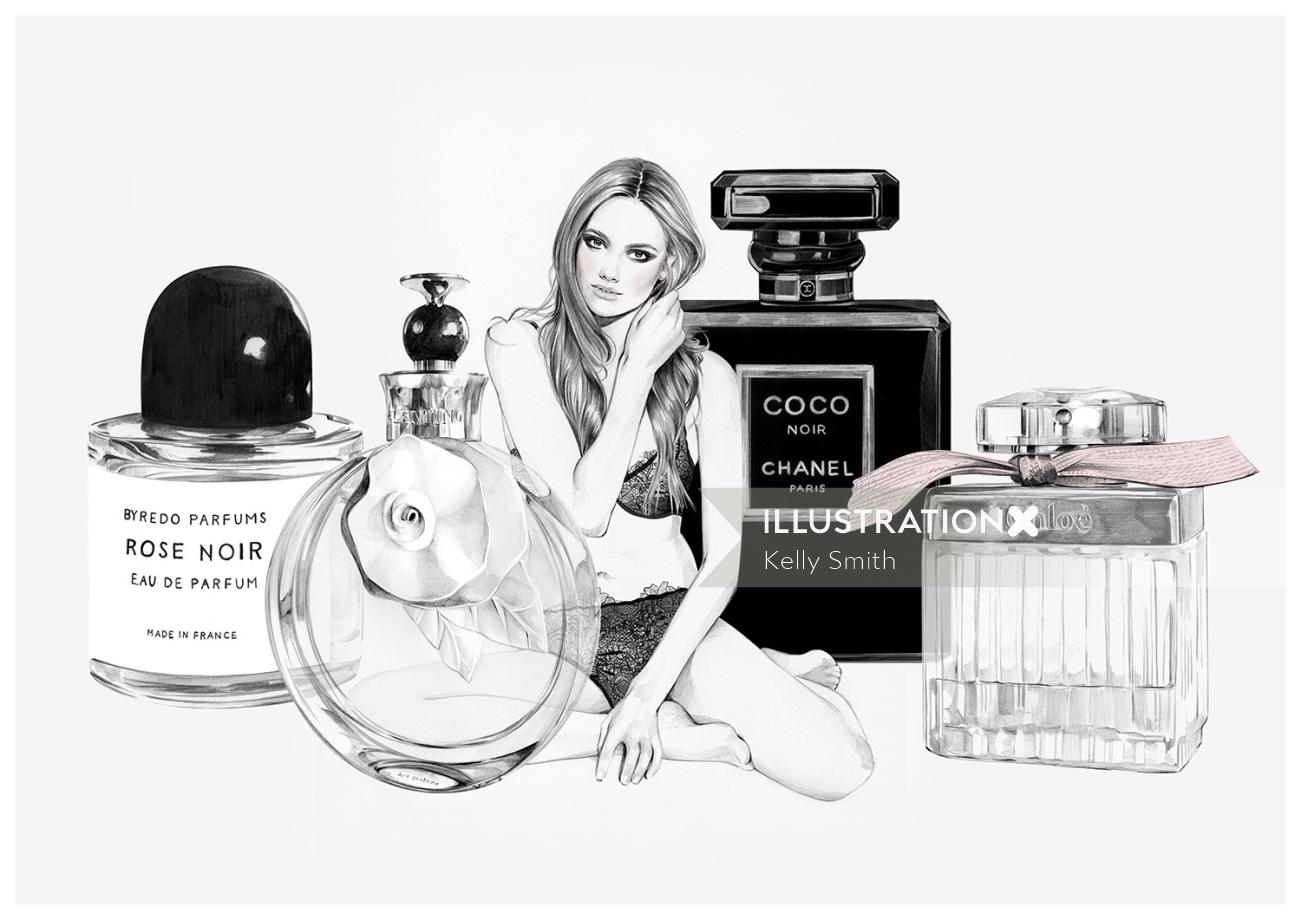Women perfume illustration by Kelly Smith