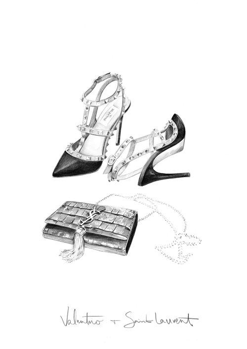 Ilustração de Valentino e Saint Laurent de Kelly Smith