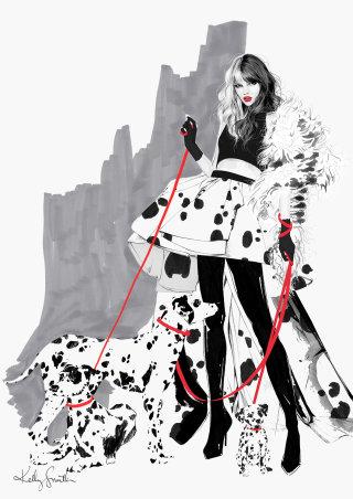 Illustration of cruella deville costume