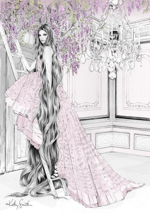 Ilustração de traje Rapunzel