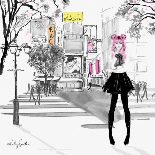 Illustration of Tokyo girl
