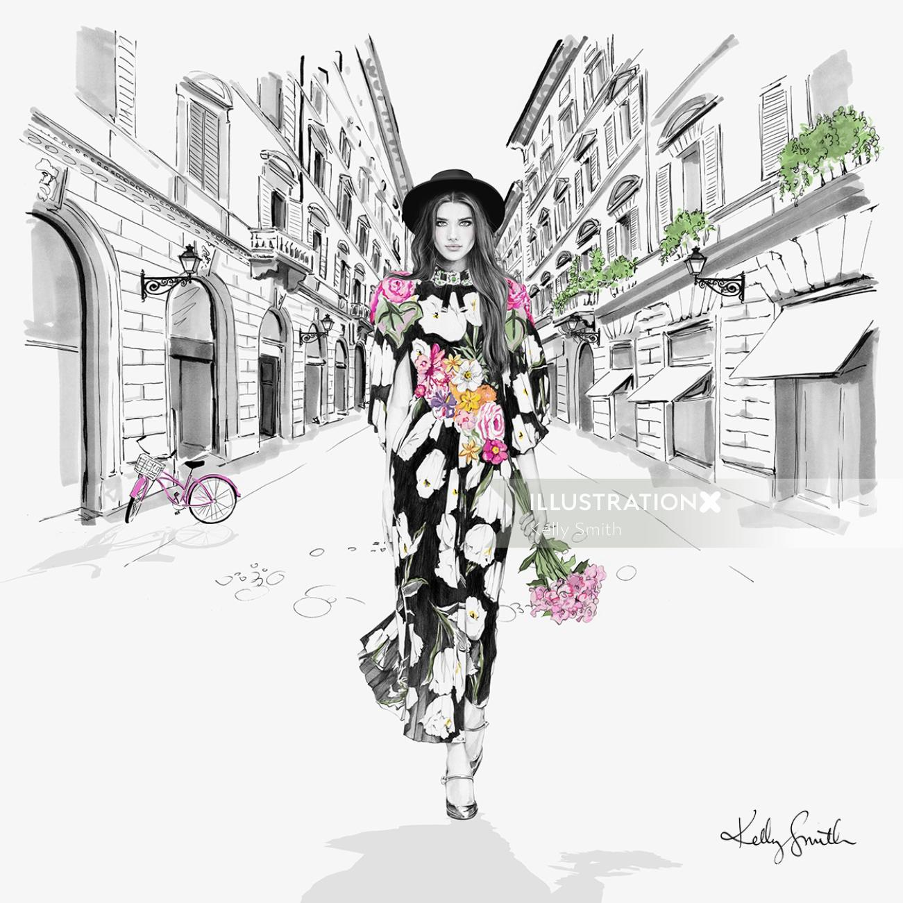 Illustration of Italia fashion clothes