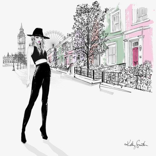Ilustração da menina de Londres