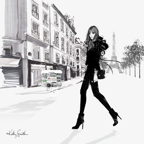 Illustration of lady fashion in Paris