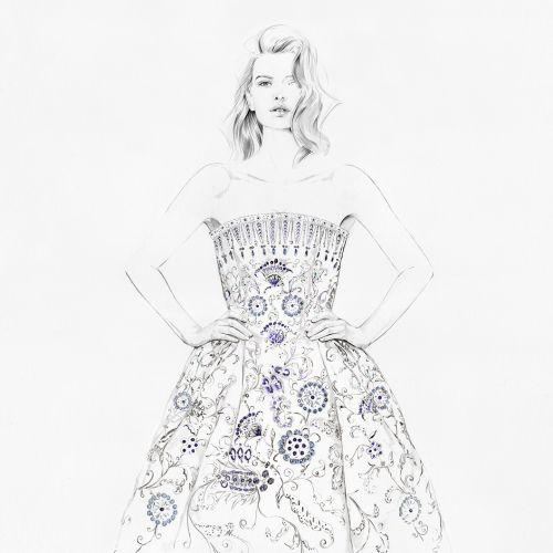 Illustration of Christian Dior's Palmyre gown