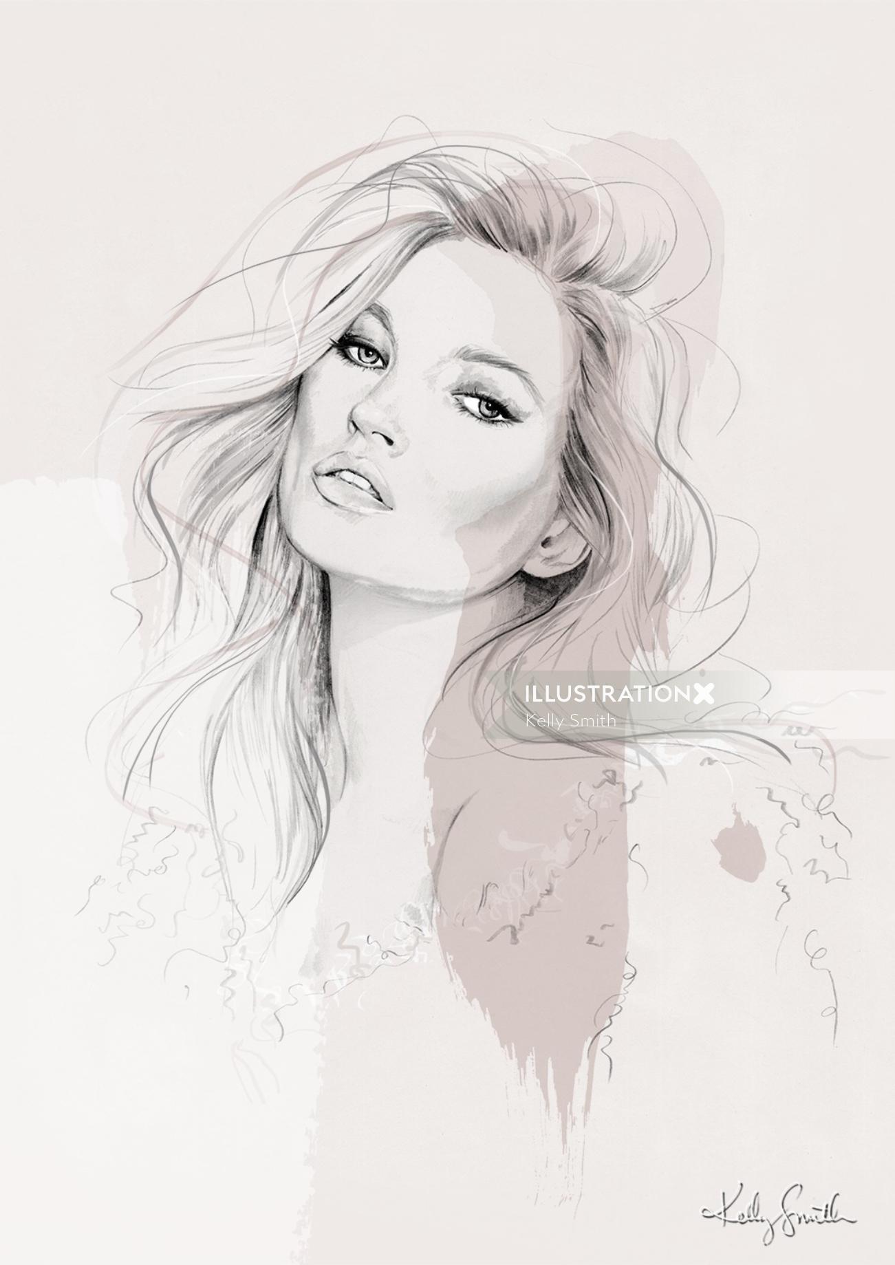 Illustration of Kate Moss