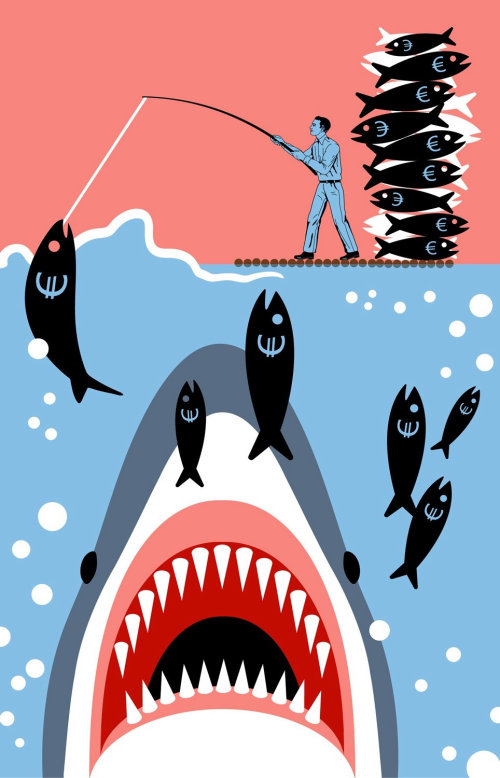 Businessman fishing pound sign fish unaware of shark