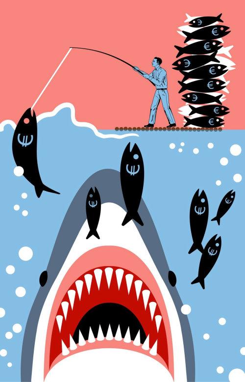 Empresario pesca libra signo pescado inconsciente de tiburón