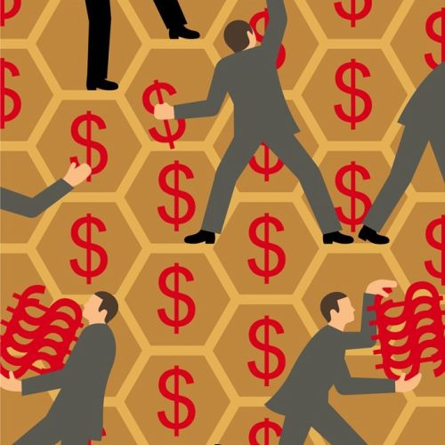 Businessmen gathering dollar signs from honeycomb