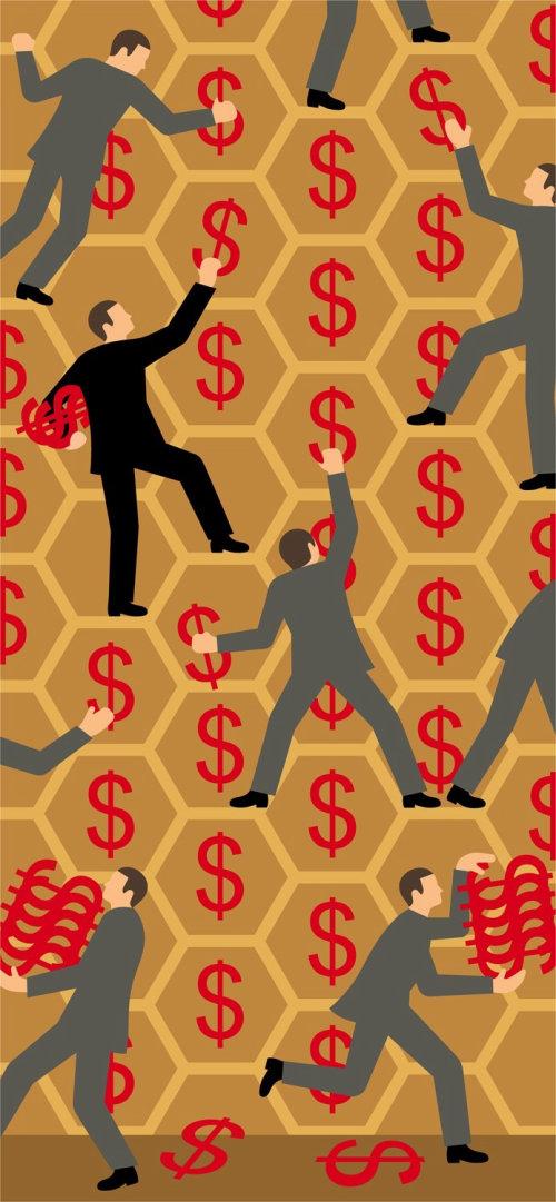 Empresarios recogiendo signos de dólar del panal
