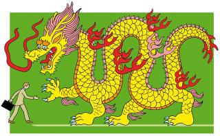 Businessman greeting dragon