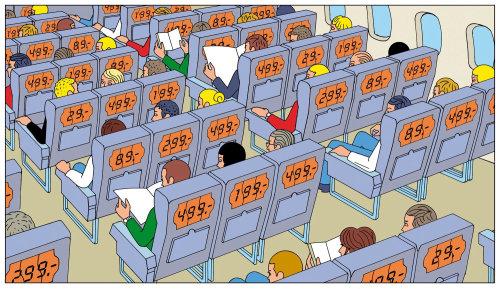 Personas en el avión con diferentes tarifas de asiento.