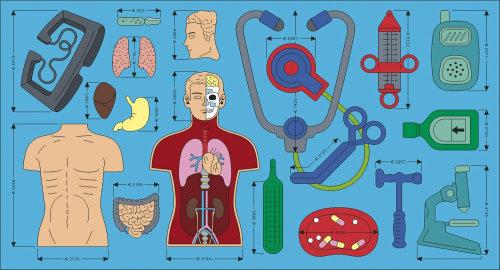 Ilustración de partes humanas por Klaus Meinhardt