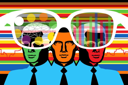 Men seen through magic glasses