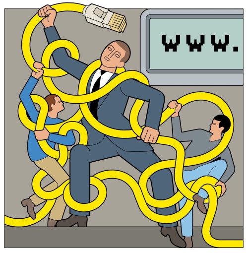Padre peleando con los niños por el control parental con el cable de internet