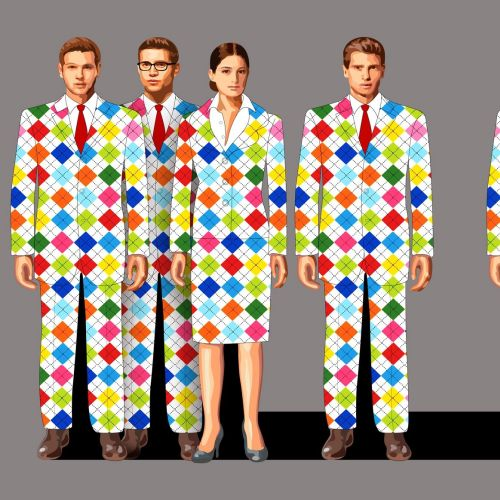 Group of business people wearing colorful checked suits