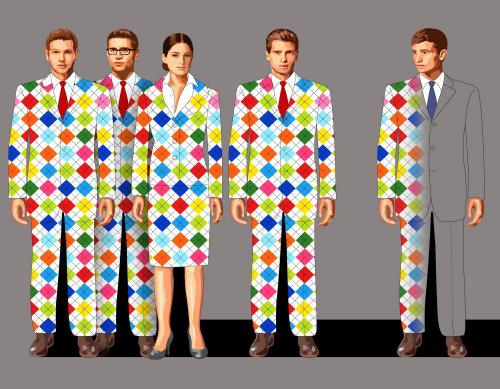 Grupo de empresarios con coloridos trajes a cuadros