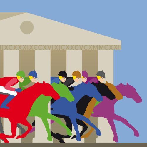Horse race illustration
