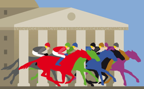Ilustración de la carrera de caballos