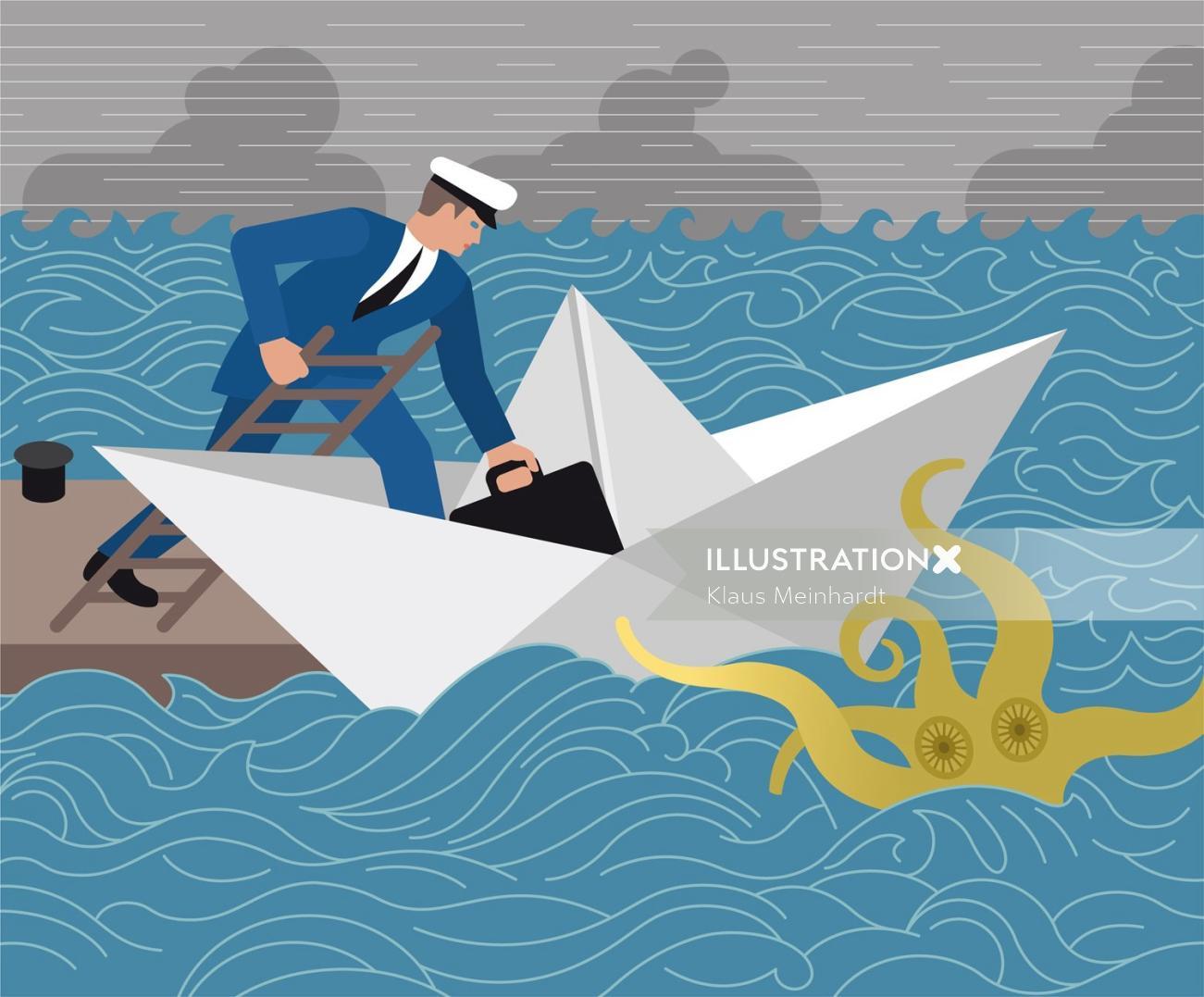 Man boarding paper boat