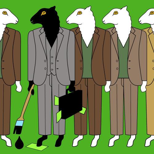 Ovejas en traje de negocios para hombres - Ilustración conceptual