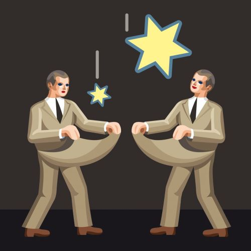 Two men catching stars with dollar symbol