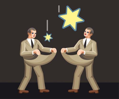 Dos hombres atrapando estrellas con el símbolo del dólar