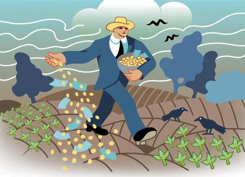 Hombre de negocios sembrando dinero