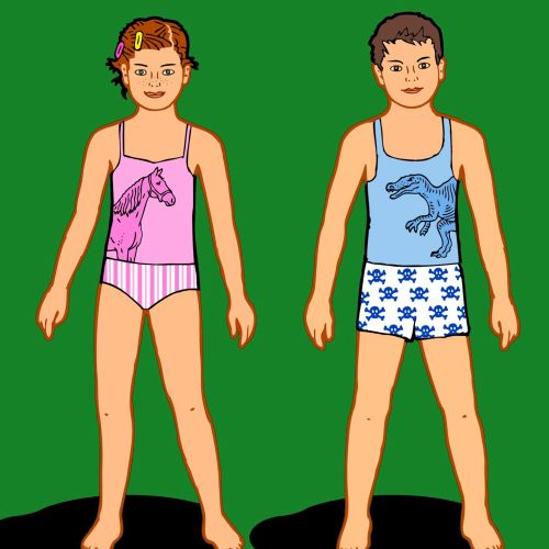 Boy and girl in under garments