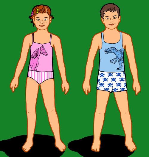 Niño y niña en ropa interior