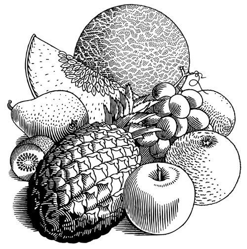 Frutas, ilustración en blanco y negro